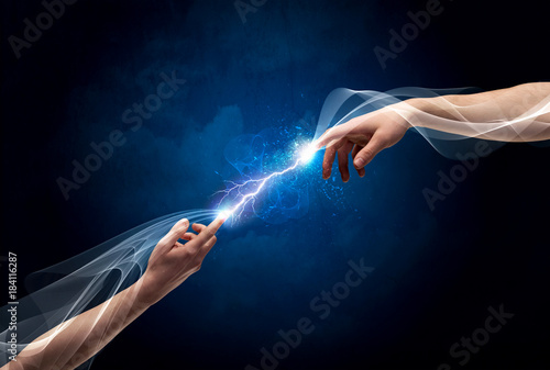 Hands connecting through fingers in space Poster