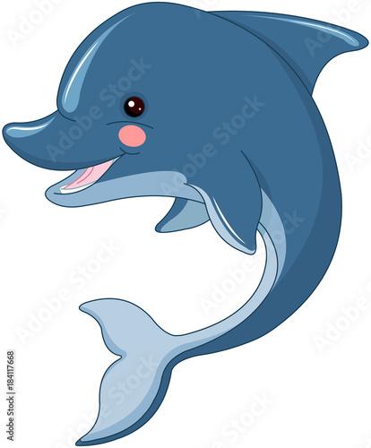 Deurstickers Sprookjeswereld Cute Dolphin