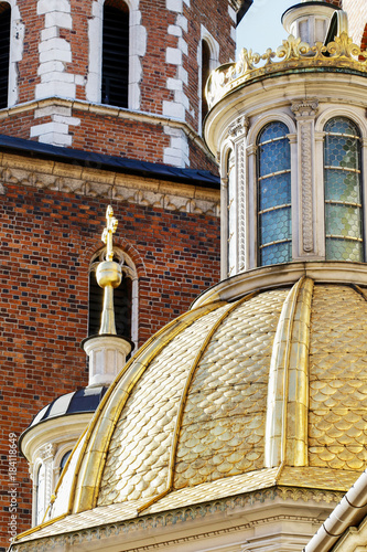 KRAKOW, POLAND - FEBRUARY 27, 2017: Roof turrets of The Wawel Royal Castle © agneskantaruk