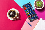 Coffee cup at colorful background - 184123045