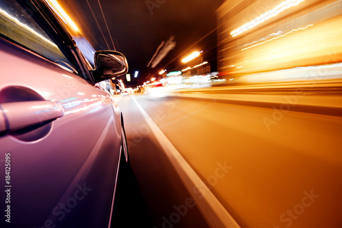 Foto op Aluminium Nacht snelweg Car on the road with motion blur background.
