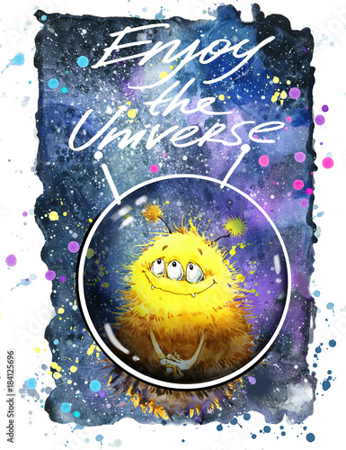 Alien. T-shirt design. Cute monster watercolor illustration. Space background.  - 184125696