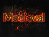 Medieval Fire text flame burning hot lava explosion background. - 184126477