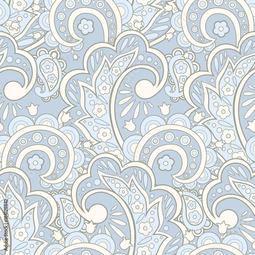 seamless pattern with flowers in indian textile style. floral vector background