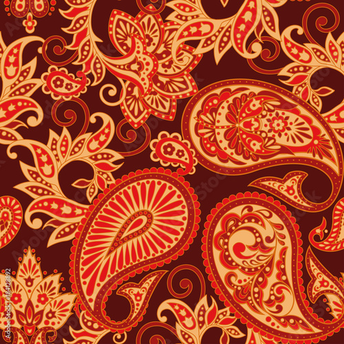 Paisley Damask ornament. Seamless Vector illustration - 184128892
