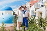 Young couple walking on the Santorini - 184129430