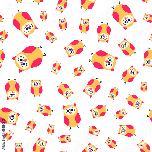 Cute cartoon owls. Vector seamless pattern with hand drawn flat birds. Bright colors owl on white background.
