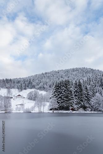 Keuken foto achterwand Blauwe hemel étang gelé des Vosges
