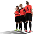 female soccer players in wall isolated on white - 184134493