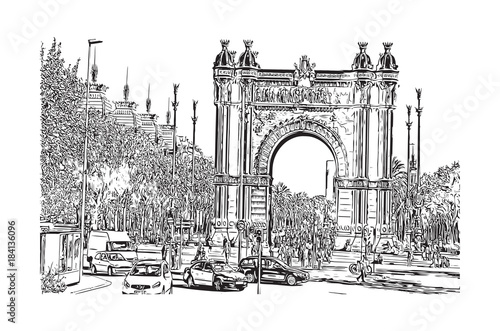 Sketch of Arc De Triomf, Barcelona, Spain in vector illustration.