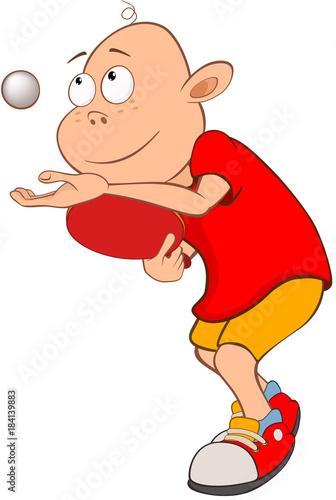Foto op Canvas Babykamer Illustration of Cute Little Boy. Table tennis