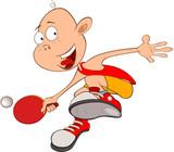 Illustration of Cute Little Boy. Table tennis - 184140626