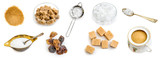 Photo collage of amber brown and white sugar isolated - 184144487