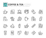 Outline icons about coffee and tea - 184144676
