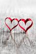 Quadro Two ribbon hearts on wood