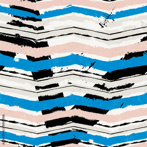 Fotobehang Abstract met Penseelstreken seamless pattern,seamless background,abstract geometric background with paint strokes and splashes, zigzag pattern, seamless