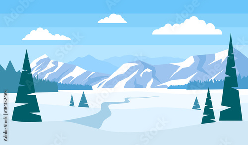 Foto op Canvas Pool beautiful winter landscape with mountains pine trees