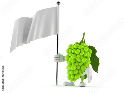 Grapes character holding blank flag