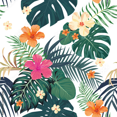Tropical pattern seamless white background