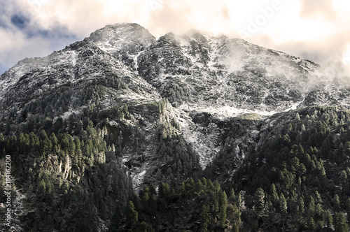 Foto op Canvas Grijze traf. Alpenpanorama
