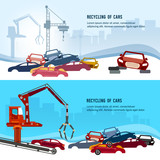 Car scrap metal dump vector. Recycling industrial factory. Industrial crane claw grabbing old car for recycling metal, utilization of cars - 184164453