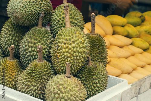 Tuinposter Kuala Lumpur Closeup of fresh durian in the market in Kuala Lumpur, Malaysia