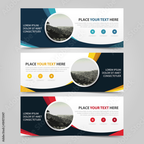 Blue Yellow Red circle abstract corporate business banner template, horizontal advertising business banner layout template flat design set , clean abstract cover header background for website design