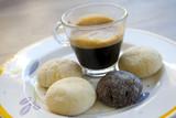 espresso coffee and homemade pastries - 184174683
