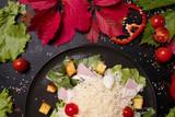 cooking recipe of delicious caesar salad. food ingredients. nourishing meal - 184176895