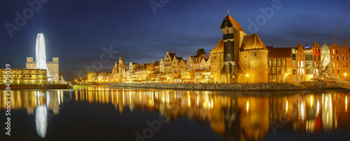 night panorama of the old city of Gdansk