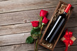 Quadro Red rose flowers, wine and gift