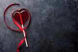 Valentines day. Candy heart and red ribbon