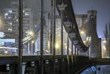 Grunwaldzki Bridge at night, in winter scenery. Wrocław, Poland, Europe.