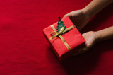 Kids Hands Holding Paper Gift Box on Red Background.