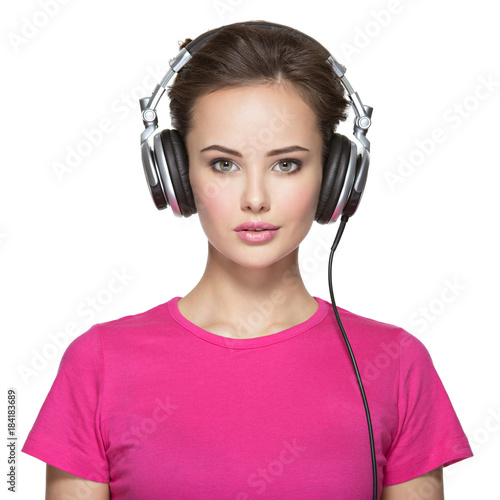 Plexiglas Muziek woman with headphones