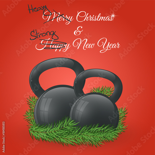 christmas and new year greeting card with kettlebells and pine branches