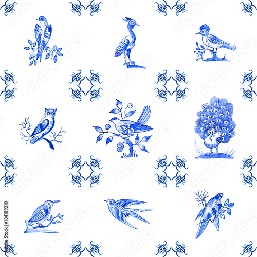 Delft blue style watercolour seamless pattern. Traditional Dutch tiles with images of birds, cobalt on white background. Element for your design.