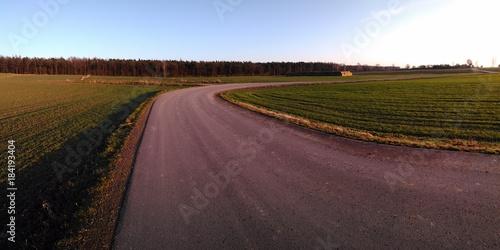 Staande foto Weg in bos droga przez pola