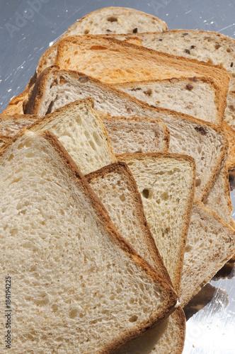 Plexiglas Koffiebonen Rebanadas de pan