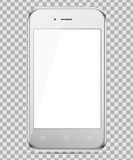 Mobile silver phone isolated in a transparancy background. To present your application. - 184196611