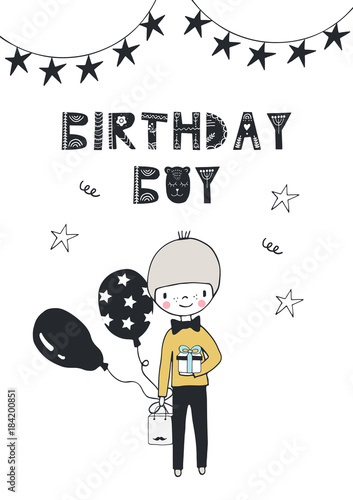 In de dag Retro sign Birthday boy - nursery birthday poster with little boy and lettering in in scandinavian style.