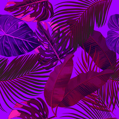 Seamless pattern of ultraviolet tropical leaves of palm tree. Vector background.