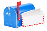 Mailbox with opened envelope and letter inside, 3D rendering - 184204077