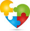 Herz, Puzzle, Liebe, Logo