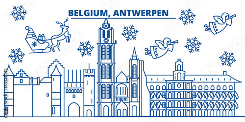 Foto op Canvas Antwerpen Belgium, Antwerpen winter city skyline. Merry Christmas, Happy New Year decorated banner with Santa Claus.Winter greeting line card.Flat, outline vector. Linear christmas snow illustration