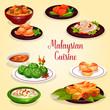 Malaysian cuisine icon of asian restaurant menu