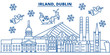 Irland, Dublin winter city skyline. Merry Christmas, Happy New Year decorated banner with Santa Claus.Winter greeting line card.Flat, outline vector. Linear christmas snow illustration - 184215439