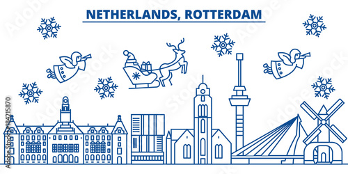 Fotobehang Rotterdam Netherlands, Rotterdam winter city skyline. Merry Christmas, Happy New Year decorated banner with Santa Claus.Winter greeting line card.Flat, outline vector. Linear christmas snow illustration