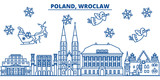 Poland, Wroclaw winter city skyline. Merry Christmas, Happy New Year decorated banner with Santa Claus.Winter greeting line card.Flat, outline vector. Linear christmas snow illustration