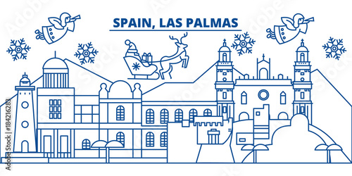 Spain, Las Palmas winter city skyline. Merry Christmas, Happy New Year decorated banner with Santa Claus.Winter greeting line card.Flat, outline vector. Linear christmas snow illustration
